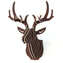 3D Puzzle Wooden DIY Creative Model Wall Hanging Deer Head Elk Wood Gift Craft Home Decoration Animal Wildlife(China)