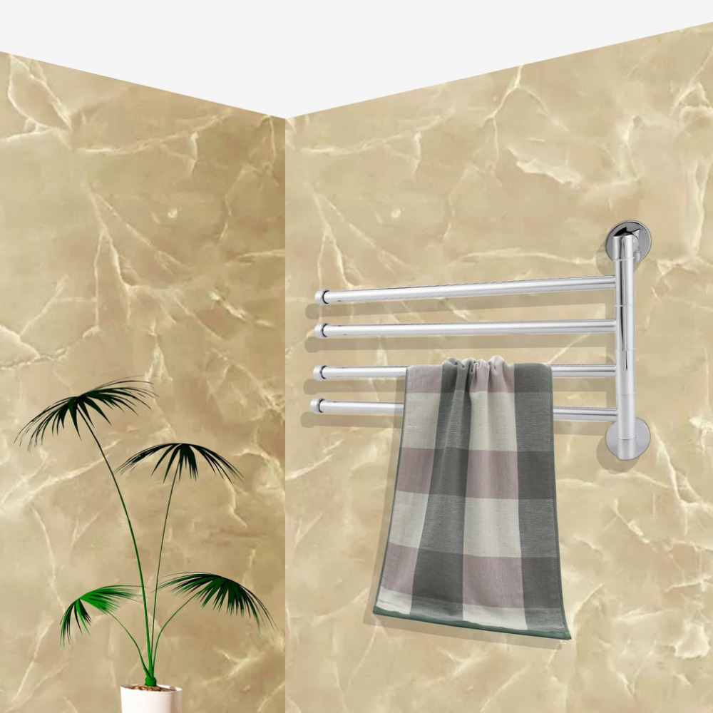 Stainless Steel Towel Rack Holder 4 Rotating Towel Bar Bathroom Kitchen Towel Holder Haing Organizer Wall Mount Hanger stainless steel square tube rotary electric heating towel bar towel rack