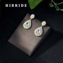 Fashion Women Accessories Micro CZ Stone Pave Drop Earrings AAA Cubic Zirconia Earring White/Rose Gold Color Earrings E-27 fym fashion new arrival bow white crystal stud earring rose gold color trendy aaa cubic zirconia cz earrings women