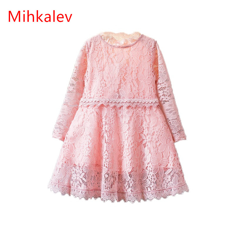 Mihkalev Pink Full sleeve girls dresses for party and wedding 2017 children princess dress for kids clothing girl dance costume mihkalev striped long sleeve girl dress kids clothes 2017 autumn princess dres for girls party clothing children tutu dress