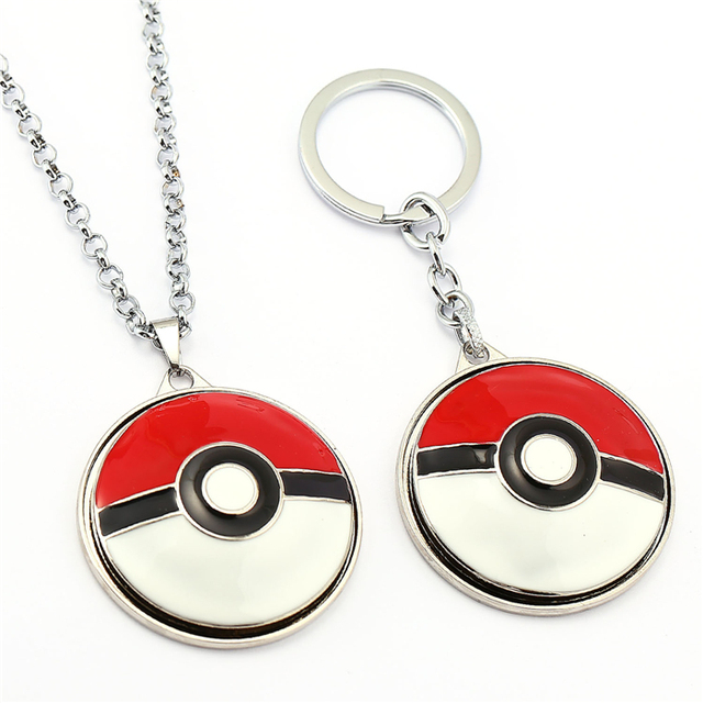 10/pcs Pocket Monster Go Necklace Poke Ball Rotatable Pendant Friendship Gift Men Women Movie Choker Jewelry Accessories YS11840