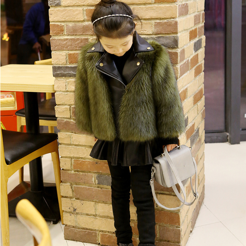 Girls Fur Coat Toddler Girls Winter Faux Fur PU Leather Jacket Girls Faux Fox Fur Motorcycle Jackets Kids Warm Outerwear D0359 winter fur hooded warm jackets for girls padded coats thicken pu leather patchwork fox faux fur collar jacket outerwear w57