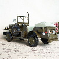 Hand made metal grommet iron decoration craft handsome convertible military vehicle metal grommet Figurines Miniatures