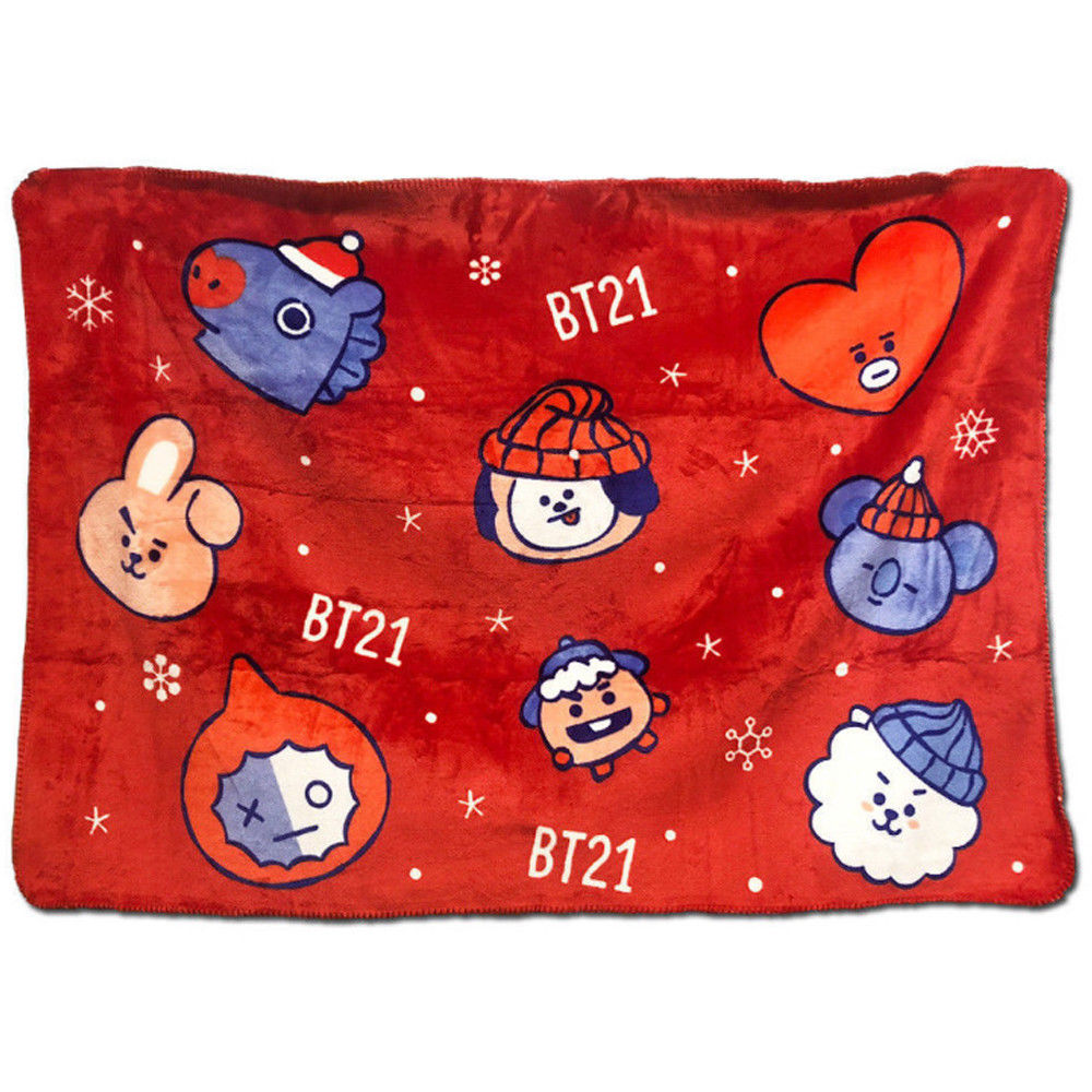 Kpop BTS Bangtan Boys Blanket Cute TATA COOKY BT21 Christmas Soft  CHIMMY Winter Collection