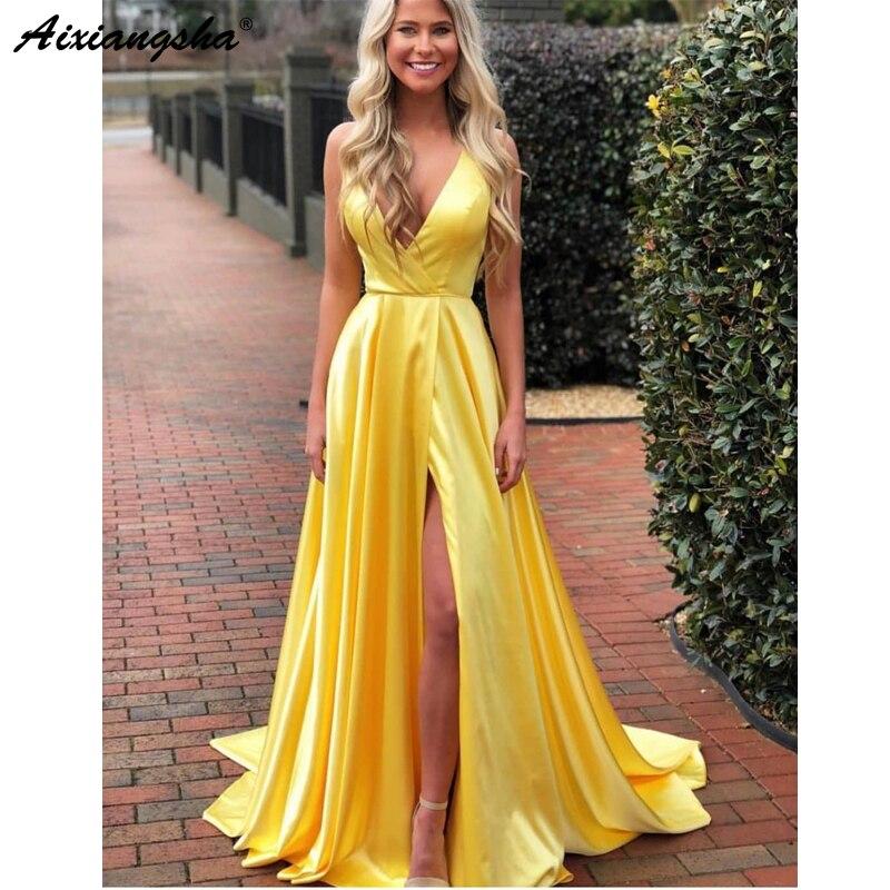 Simple une ligne robe de bal 2019 col en V profond haute fente longues robes de soirée pour les femmes grande taille Gala étage vestidos de fiest longueur