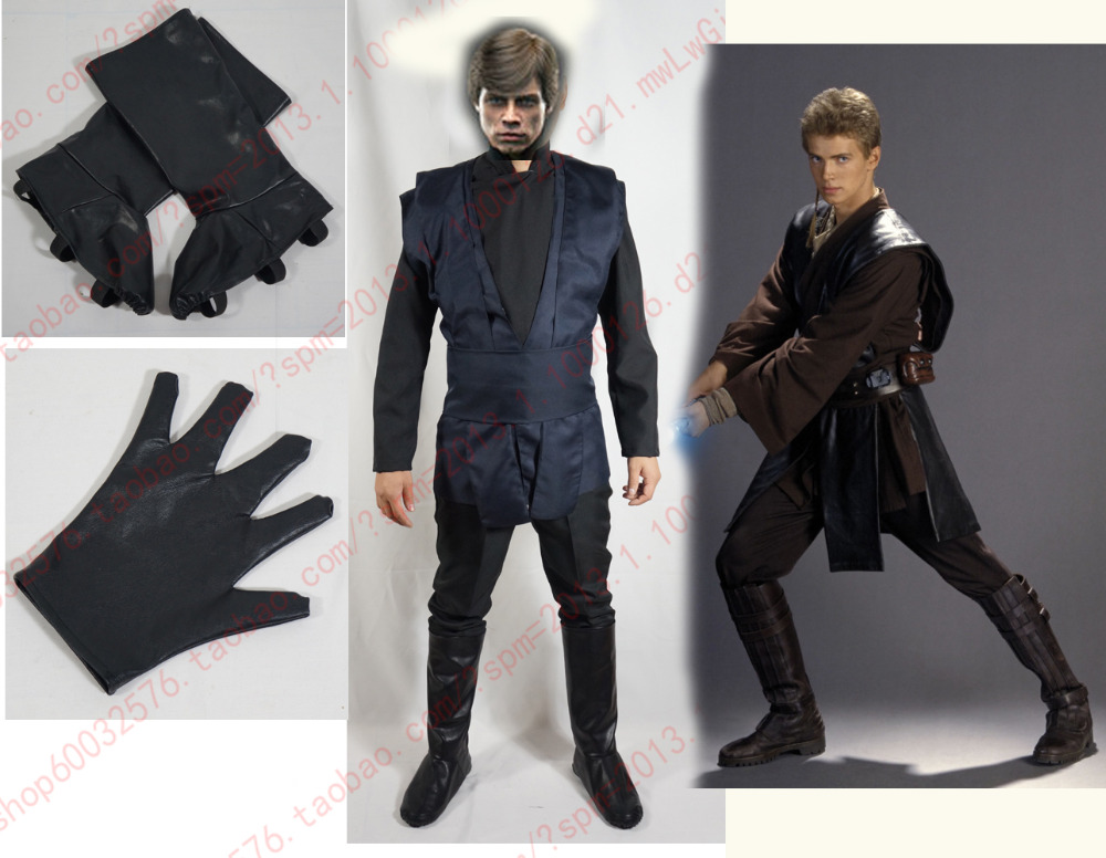 Star Wars Luke Skywalker Cosplay Costume top+pant with shoe covers and one glove