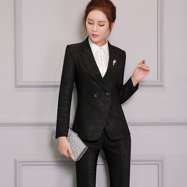 Double button Two Piece Ladies Formal Pant Suit For Wedding Office ...