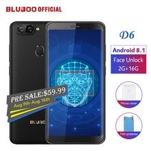 BLUBOO D6 Android 8,1 смартфон 5,5 »MTK6580 4 ядра 2G RAM 16G ROM Face Unlock двойной задней камерами 18:9 мобильный телефон
