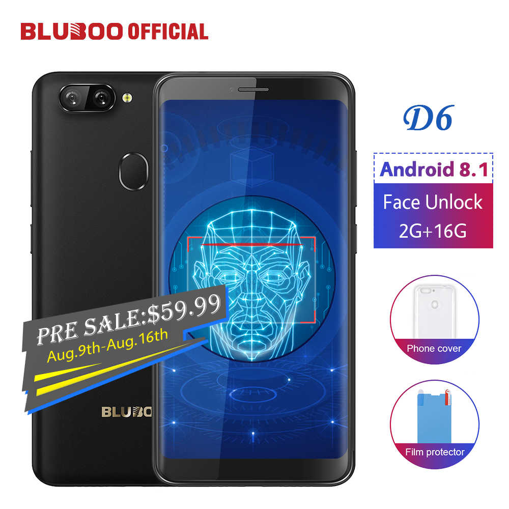 BLUBOO D6 Android 8,1 Smartphone 5,5 ''MTK6580 Quad Core 2G RAM 16G ROM desbloquear la cara trasera Dual cámaras 18:9 teléfono móvil
