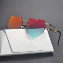 MINCL/женские дизайнерские милые Солнцезащитные очки без оправы в форме сердца, винтажные круглые прозрачные негабаритные солнцезащитные очки без оправы с коробкой LXL