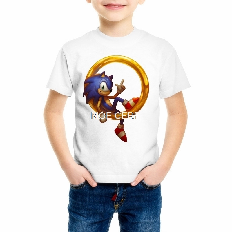 Hedgehog Sonic Comics Kids White T-Shirt Classic Sonic The Hedgehog T Shirt New Short-Sleeve T-Shirt Top Tee Z15-4 sexy slim t shirt women off shoulder cropped top harajuku flower print shirt top bandage long sleeve tee flare sleeve t shirt