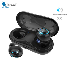 TWS Q32 Bluetooth Earphone Wireless Headphones BT5.0 Stereo IPX5 Waterproof Sports Earbud Headsets With Charger Box PK Q18 I7s