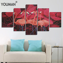 Canvas Painting 5 piece By numbers for Living Room in Cartoon Abstract Flamingo Posters Frameless Home Decor