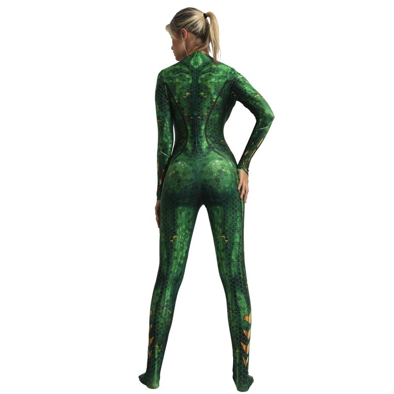 Deluxe Women Movie Aquaman Mera Queen Cosplay Costume Zentai Bodysuit Jumpsuits Suit Halloween Costume For Women in Movie TV costumes from Novelty Special Use