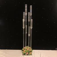Главная Свадебные декоративный светильник акрил высокий канделябр подсвечники свадебного стола центральным цветок стенд канделябр