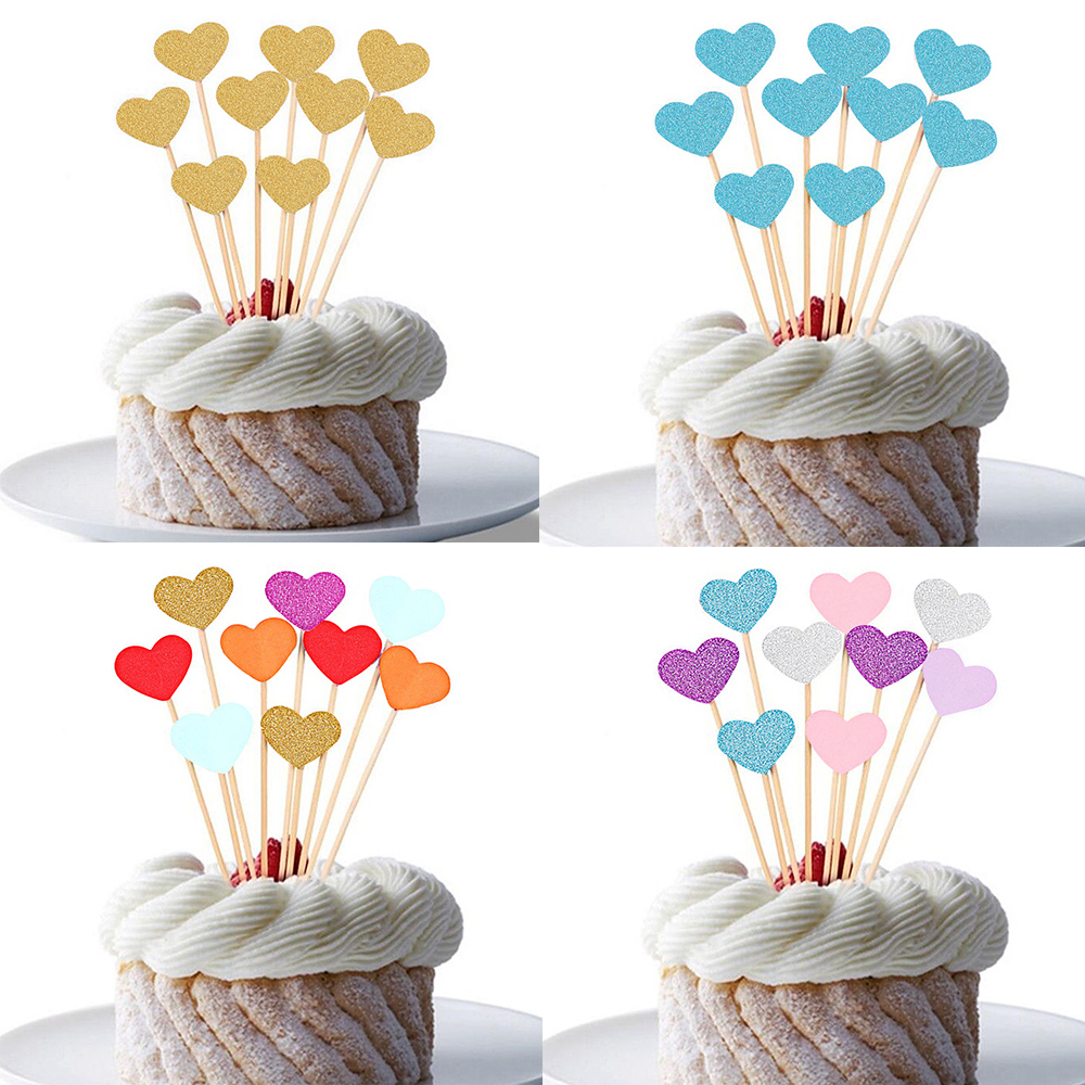 Top 10 Wedding Cake Suppliers In Melbourne: 10/30pcs Love Heart Birthday Cupcake Toppers Party Baby