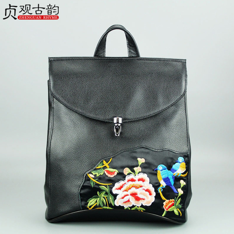 NoEnName Summer New Ethnic Style Flowers Birds Embroidery Women Backpack Ladies Bags Bohemia Genuine Leather Cowhide Bag chinese style genuine leather bag women handbag embroidery ethnic summer fashion handmade flowers ladies tote shoulder hand bags