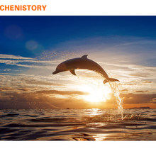 CHENISTORY Frameless Dolphin Sunset DIY Painting By Numbers Seascape Modern Wall Art Canvas Painting For Unique Gift Home Decor(China)