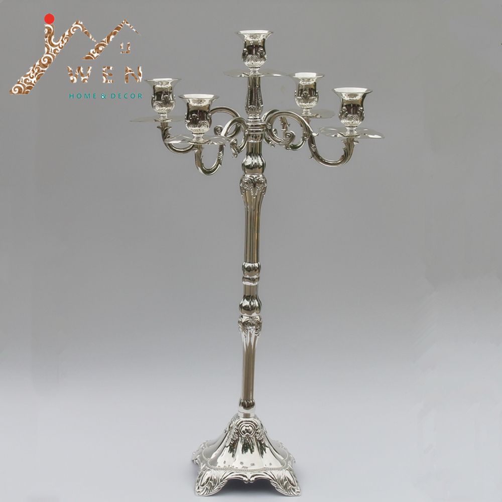Candelabro central de metal con acabado plateado de venta caliente, altura de 63 cm, candelabro de boda, fiesta o eventos, use candelabro de Navidad
