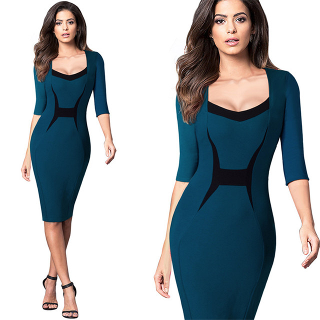 c3154b941c US $30.77 |2017 Women Casual Wear To Work Office Sheath Fitted Pencil Dress  Autumn Elegant Classy Square Collar Patchwork Bodycon Dresses-in Dresses ...