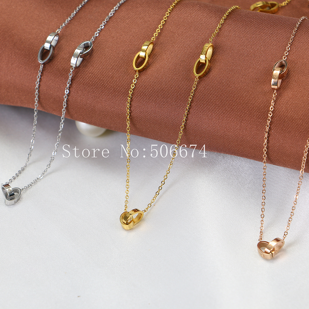 Classic Bijouterie For Couple Lovers' Gifts,Love Double lock Circles Pendants Necklace Multi Layer Necklace Gold Stainless Steel