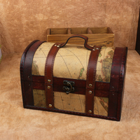 Retro British Can be portable Can be clamshell metal button yellow Map pattern stripe strap Antique box Jewelry Box Storage Box