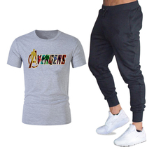 New Marvel Avengers Men T Shirts+pants Suit Summer Tops Tees Fashion Brand Print Tshirt High Quality Sportswears 2 Pieces Sets