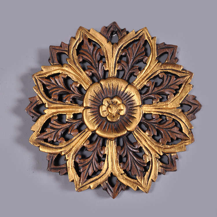 c5365d9854cb ... Thai wood carving crafts family living room background wall decorative  plate pendant solid carved wall fresco ...