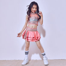 The New Children's Costumes 2019 New Hip-hop and Belly Sleeveless Suits Girls Tutu Dress Clothes and Dance Performances(China)