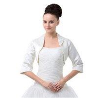 18aafa560237d 2018 Cause Half Sleeve White Jacket Satin Bolero Women Evening Party Coat  Prom Wrap Plus Cape