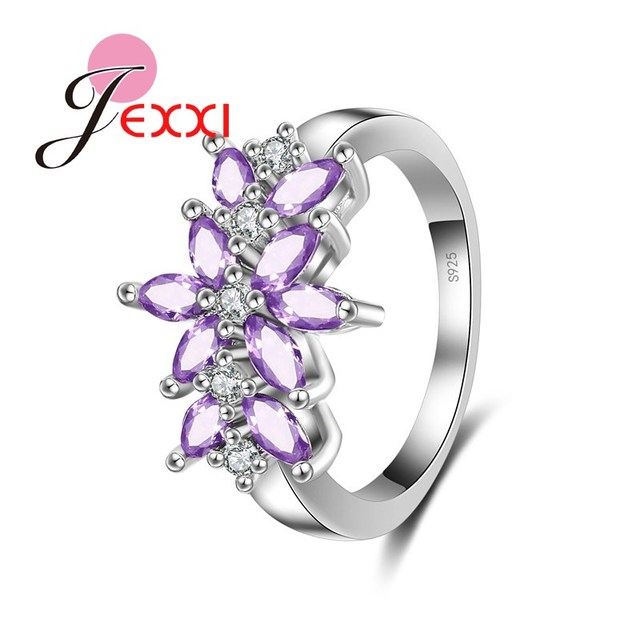 Jemmin Luxury Design Purple Oval Crystal 925 Sterling Silver Engagement Wedding