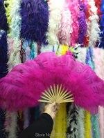High quality super large dance ostrich feather fan belly dance from Halloween decorative jewelry set 15 bone fan