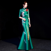 Chinese Traditional Embroidery Animal Cheongsam Women Green Prom Full Length Dress Half Sleeve Slim Qipao Mermaid Vestidos