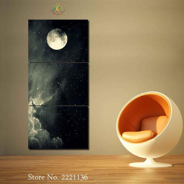 3 Pieces/set Moonlight at Cloudy Night Modern Home Wall Art Decor ...
