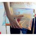 Women Transparent Envelope Handbags Fashion Crystal Clutch TPU Rainbow Party Dinner Bag Ladies Chain Handbag Bolsas Mujer XA97B