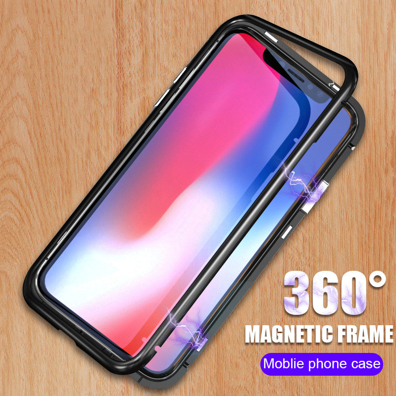 YAGOO Magnetic Adsorption phone case for iphone X 7 plus case metal frame cover tempered glass for iphone X 8 plus luxury fundas