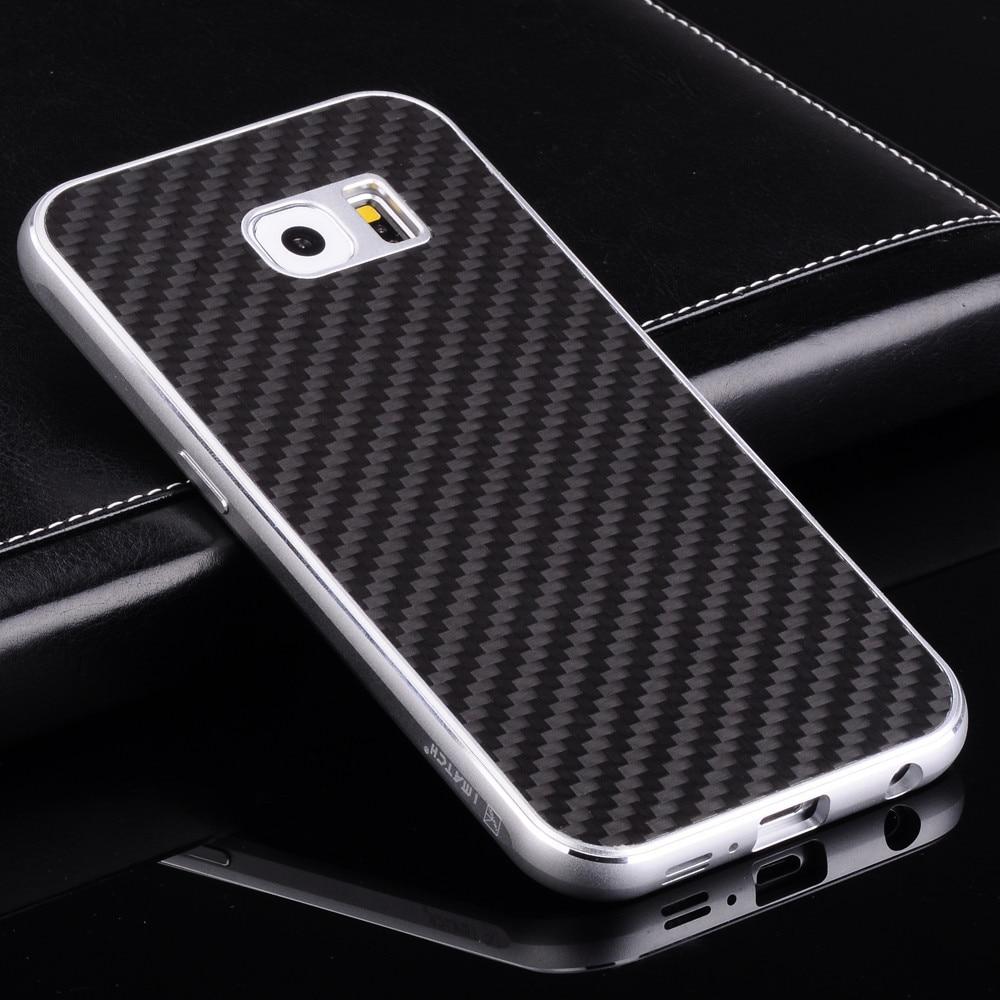 imágenes para Lujo Real de Fibra de Carbono Cubierta Trasera y el Conjunto Del Marco Del Metal de Aluminio De Alta Calidad Caja del teléfono Para Samsung Galaxy S6/S6 Edge/S6 Edge Plus