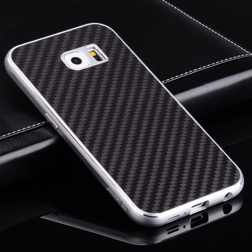 bilder für Luxury Real Carbon Back Cover & Premium Aluminium Metallrahmen Set Telefonkasten Für Samsung Galaxy S6/S6 Rand/S6 Rand Plus