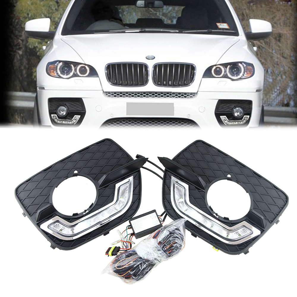 Front LED Daytime Running Light DRL Fog Light Assembly For BMW E71 X6 2008-2013 DRL Daylight Kit LED Fog head Lamp cover oem fit 10w high power 5 led daytime running lights drl kit for bmw 3 series e90 e91 2005 2008 driving light led fog light lamp