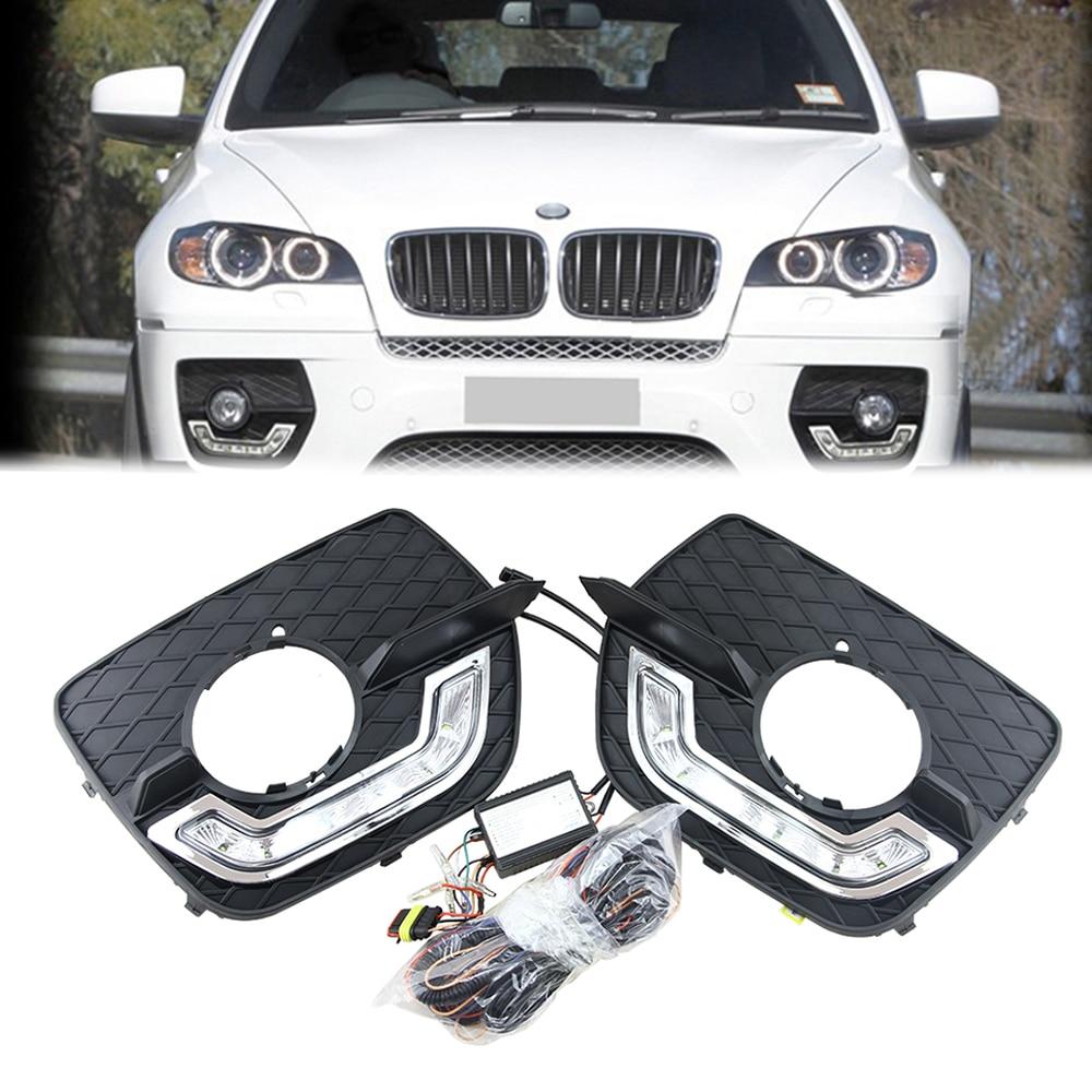 Front LED Daytime Running Light DRL Fog Light Assembly For BMW E71 X6 2008-2013 DRL Daylight Kit LED Fog head Lamp cover