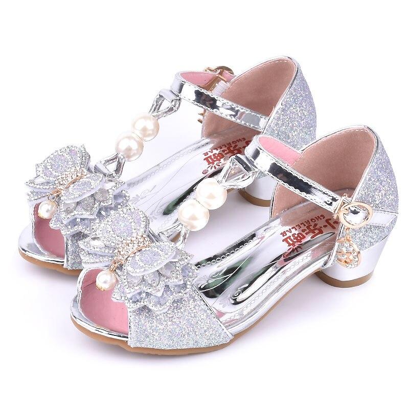 Girls sandals 2018 summer new childrens high-heeled sandals sweet High Heels Princess shoes show enfant host shoes size 26-37