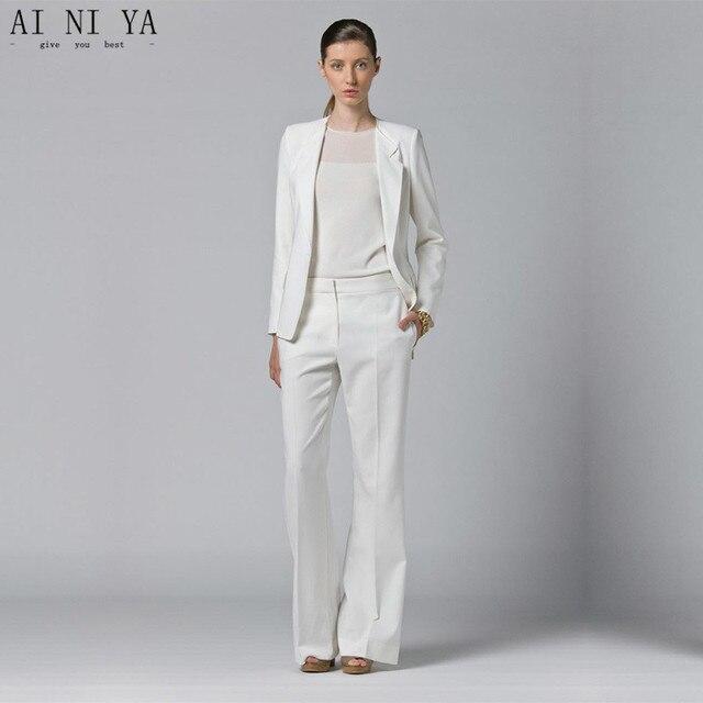 White Womens Business Suits 2 Piece Sets Blazer Office Uniform