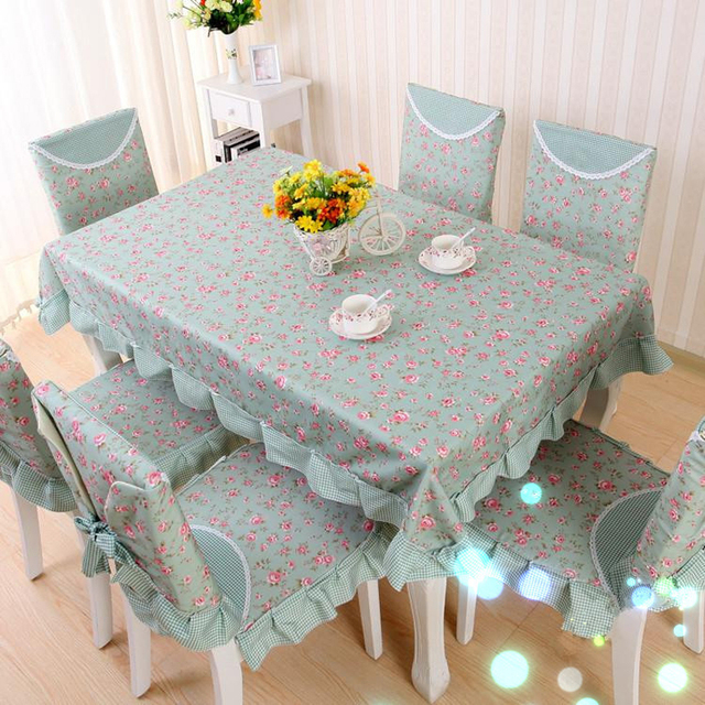 Past Cotton Linen Sanding Table Cloth Blue Fl Printed Rectangular Cover Dinning Tablecloths For Wedding Home Decor