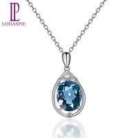 Lohaspie алмаз Jewelry 3.72ct Природные Лондон Голубой топаз SOLID 14 К Белое золото Gemstone подвеска изысканные ювелирные изделия камня для подарок новый