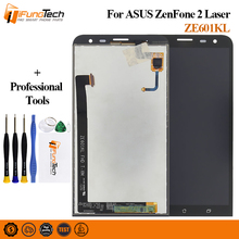 100% Test 6'' LCD Display Touch Screen For Asus ZenFone 2 Laser ZE601KL 601KL Z011D Panel Digitizer Full Assembly + Frame +Tools asus view flip zenfone laser ze600 601kl золотой