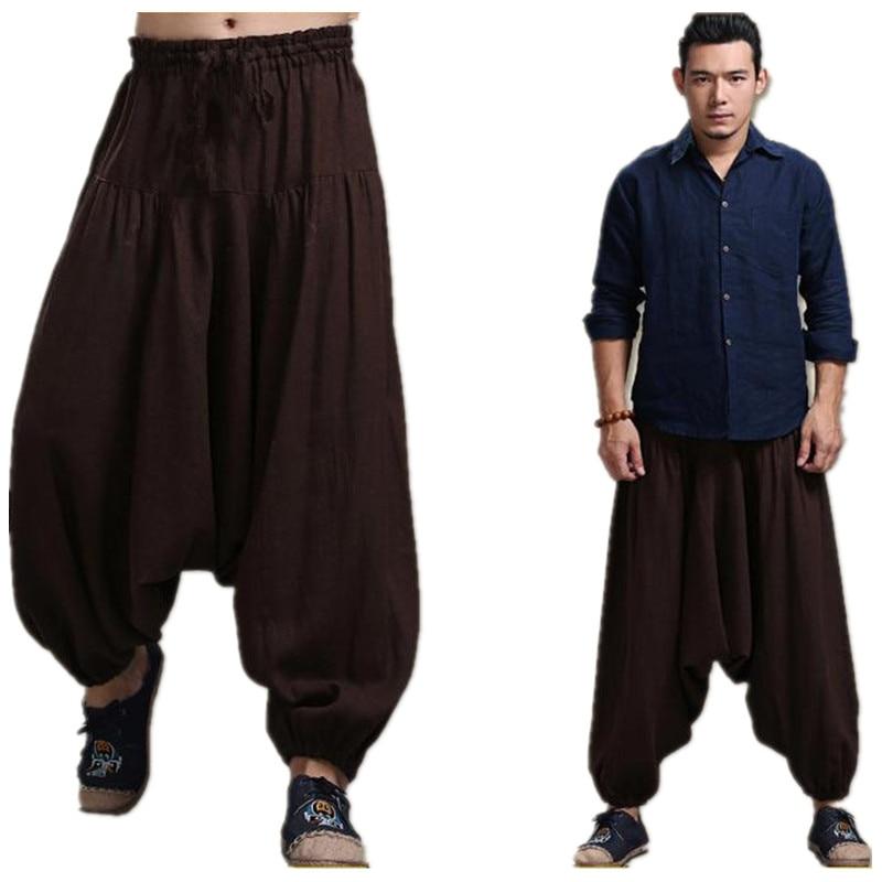 Men's Cross-pants crotch pants,wide leg pants dancing Harem pants pantskirt bloomers Harem trousers,plus size M-5XL black