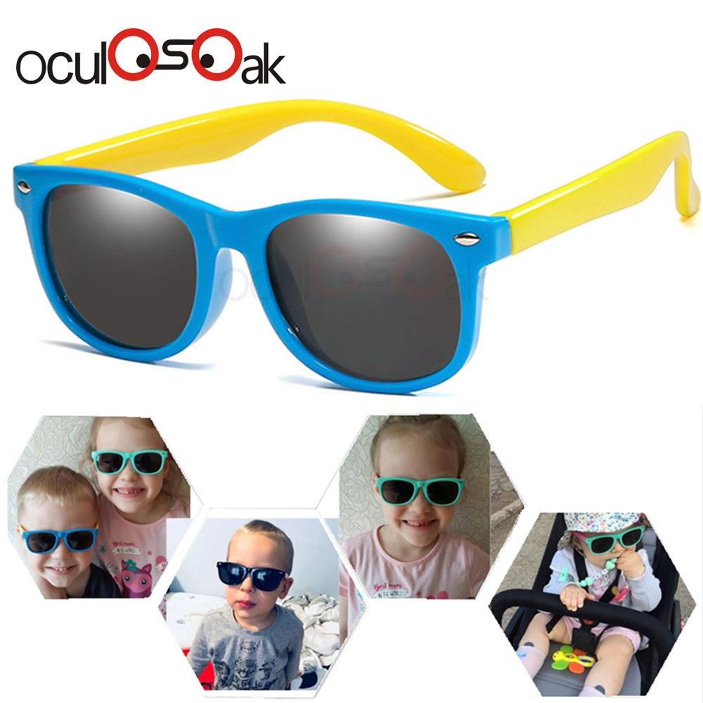 Flexible Polarized Kids Sunglasses Child Black Sun Glasses for Baby Girls Boy Eyeglasses 2-11 Years
