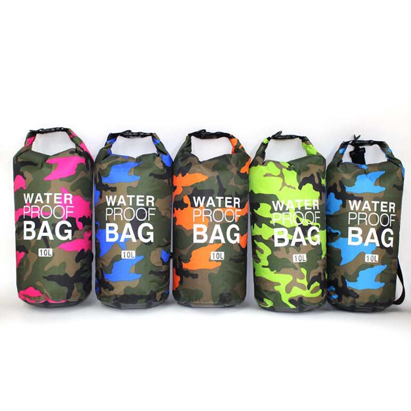PVC Waterproof Dry Bag 5L 10L 20L 30L Camo Outdoor Diving Foldable Man Women Beach Swimming Bag Rafting River Ocean Backpack