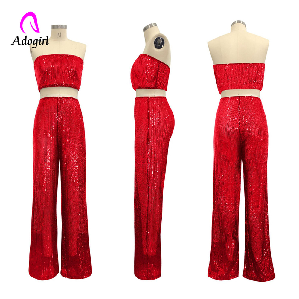 Rose Gold 2 Piece Set Women Sexy Club Party Sequin Set Beading Off Shoulder Crop Top and Wide Leg Pant Fashion 2pcs Outfit Set in Women 39 s Sets from Women 39 s Clothing