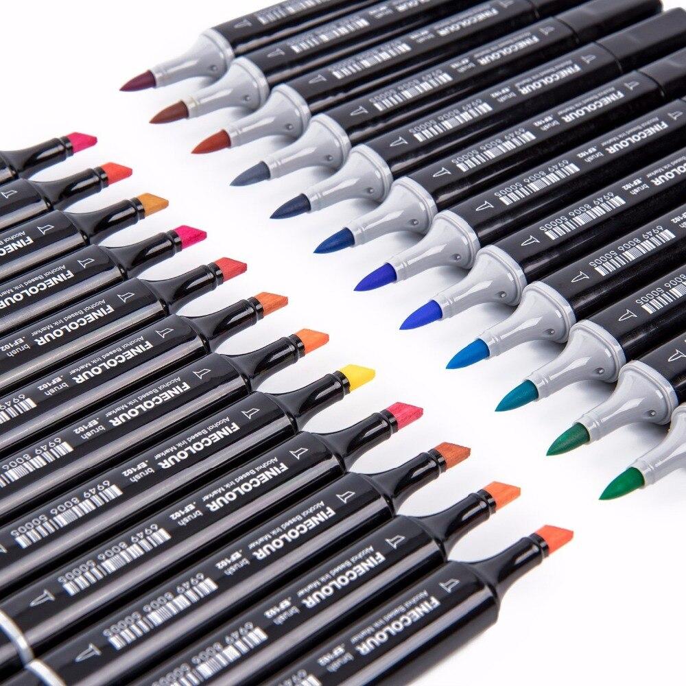 Finecolour アルコールベースマーカーブラシデュアルヒント 24/36/60/72 色グラフィック描画技術デザインスケッチマーカーセット Ef102  グループ上の オフィス用品 & 学用品 からの アート マーカー の中 3